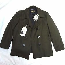 NEW GLOVERALL REEFER OLIVE KHAKI WOOL MADE IN ENGLAND PEA COAT JACKET 44 L LARGE