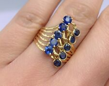 14k Solid Yellow Gold Cute One Row Moving Ring Natural Sapphire 2.0 TCW, Sz 7.75