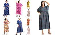 Damen Herbst Boho Locker Lang Maxi Kleid Urlaub Kaftan Baumwolle