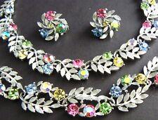 Vintage Lisner Necklace Bracelet Ear Set Parure Silver Tone Pastel Rhinestones