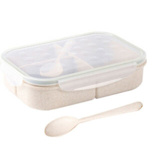 Portable Bento Box Wheat Straw Food Storage Container Lunch Boxes w/Spoon @