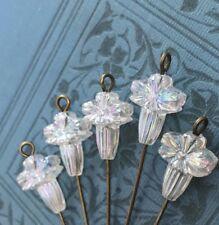 Vintage Lucite Flower Beads, Austria 14x10 AB Crystal Beads, Shabby Chic, #B25