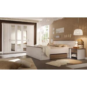 Schlafzimmer Set komplett Luca Schrank Bett Nachtkommode Pinie weiß Trüffel