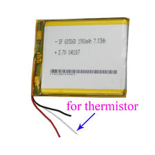 3.7V 1900 mAh 3 wires thermistor Polymer Li Battery For PDA GPS Tablet PC 605060