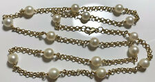 Stunning 9ct Gold Belcher Chain/ Necklace With cultural Pearls ,L 68.5cm,-21.45g