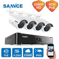 SANNCE 1080P PoE Home Surveillance CCTV Camera System 4CH NVR IP66 Motion Night