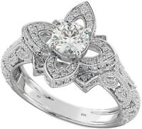 New Boxed 1.25 ct 925 Sterling Silver Ladies Lotus Flower Engagement Ring