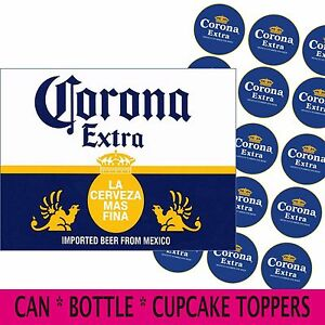 CORONA BEER CAN/BOTTLE labels edible icing cake / cupcake toppers - add message