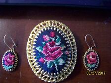 Vintage Gold Tone & Fabric Needle Point Rose Brooch/Pendant and earrings