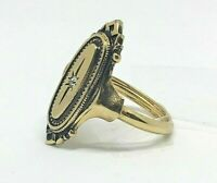 Avon Vintage Look Ring Oval Statement Cocktail Ring Gold Tone Size 7