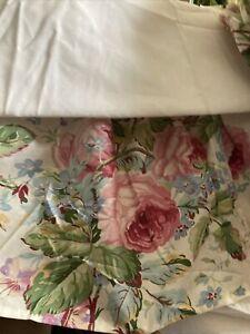 Vtg RALPH LAUREN Lorraine pink rose floral twin bed skirt dust ruffle & Sham