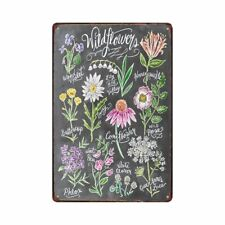 Metal Tin Sign wild flowers  Decor Bar Pub Home Vintage Retro Poster