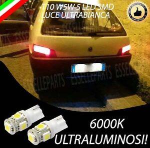 COPPIA LUCI TARGA 5 LED PEUGEOT 106 T10 W5W ULTRABIANCHE HYPER-LED