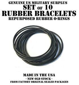 SET of 10 JELLY GUMMY BLACK RUBBER BRACELETS 80's 90's FASHION BRACELETS O-RING
