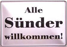 Sünder willkommen Funschild Fun Schild Blechpostkarte Blechschild 10,5 x 14,8 cm