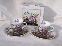 Espressotassen mit Teller Blumendekor aus Porzellan *2er Set* ORIGINAL Easy Life