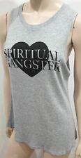 SPIRITUAL GANGSTER Pale Grey Cotton Modal Sleeveless Active Vest Tank T-Shirt M