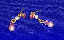 """Barbie boucles d'oreilles perles roses & blanches """"Tarina Tarantino"""" Earrings"""