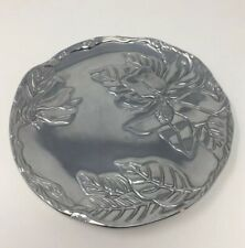 """Arthur Court Pewter Plate Floral 8"""" Round Leaves Silver 2001"""