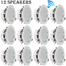 4'' Bluetooth Ceiling/Wall Speakers, (12) 2-Way Speakers with Built-in LED Light
