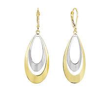 14k Yellow White Gold Flat Convex Double Graduated Teardrop Dangle Earrings
