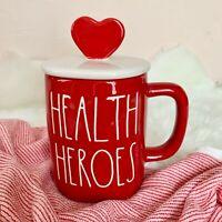 "New! Rae Dunn ""HEALTH HEROES"" LL with Heart Topper Red Coffee/Tea Mug 2021 VHTF"