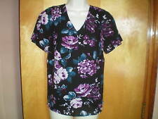 NEW NWT womens black pink teal floral dressy blouse shirt top size M fitted