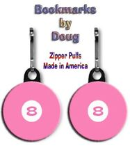 Two Pink 8 Ball Zipper Pulls with Large 1.5 Inch Charms