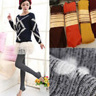 Women Warm Thermal Thick Ribbed Knit Wool Tights Winter Slim Base layer