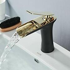 Bathroom Sink Taps Waterfall Basin Mixer 1 Handle Lever Black/Gold Chrome One