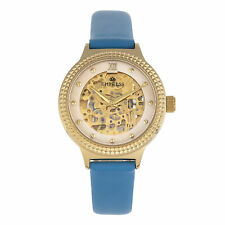 Empress Alice Automatic MOP Skeleton Dial Leather-Band Watch - Blue