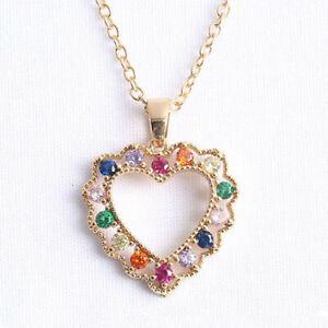 Hollow Love Heart Style Amethyst Garnet Gems Rose Gold Necklace Women Pendants