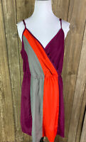Mossimo Womens Purple Orange Gray V Neck Dress Size Large Spaghetti Strap