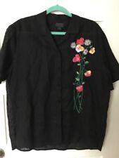 vtg 90s ESPRIT embroidered blouse M Black Floral Colorful Linen Blend shirt