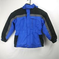 ARIZONA Jean Co. Snap Zip Up Ski Jacket Black Blue Boys Youth Size 14-16 Large