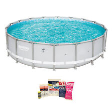 """Bestway 18' x 48"""" Power Steel Frame Above Ground Pool & Chemical Cleaning Kit"""