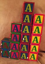 Lot of 17 Midwest Cannon Falls Alphabet Block Christmas Ornaments Painted Wood