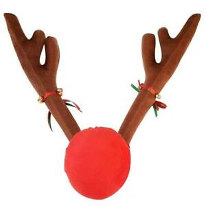 Christmas Car Decoration Plush Rudolf Reindeer Car Antler Red Nose Jingle Bells