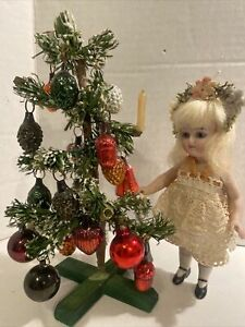 Antique German 7 In. Xmas Tree For Dollhouse/ Antique German Doll!! CUTE!!