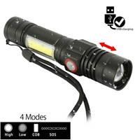 LED Taschenlampe Polizei Cree Zoom USB Wiederaufladbar Camping 18650 Akku
