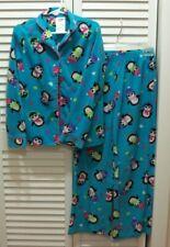 Girls Fleece Sleepwear PJ Pajamas 2 pc Set Size Medium 7/8 Long Sleeve