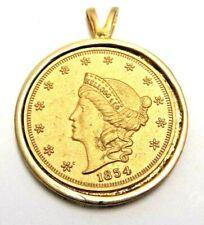 VINTAGE KELLOGG'S & CO COIN PENDANT 1854 LIBERTY REPLICA SAN FRANCISCO GOLD TONE