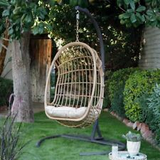 Resin Wicker Hanging Egg Chair w/Cushion & Stand Comfortable Outdoor Porch Swing