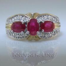 Ruby Yellow Gold Three-Stone Fine Rings