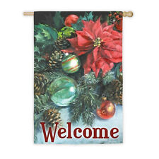 POINSETTIA REFLECTIONS 2 SIDED Welcome Christmas Holiday Large Banner Flag