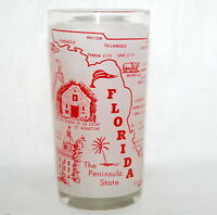 Vtg Hazel Atlas State Glass Florida Frosted Tumbler Souvenir Red Map Attractions