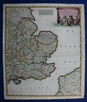 SOUTH EAST ENGLAND, 'Regni Angliae', original antique map, De Wit, c.1680