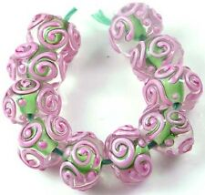 LAMPWORK Handmade Glass Pink Green Raised Scroll Rondelle Beads (10)