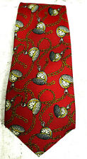 CHANEL MEN NECKTIE Red/Gold multi color Pocket watch novelty pattern 100% SILK