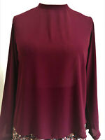 Womens Ladies Long Sleeved Blouse Top with rear metalic Exposed Zipper Plum NEW